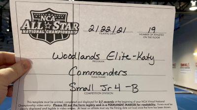 Woodlands Elite - Katy - Commanders [L4 Junior - Small - B] 2021 NCA All-Star Virtual National Championship