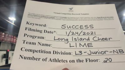 Long Island Cheer - Lime [L3 Junior - Non-Building] 2021 Athletic Championships: Virtual DI & DII