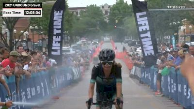 Lauren De Crescenzo celebration across finish line at Unbound 2021