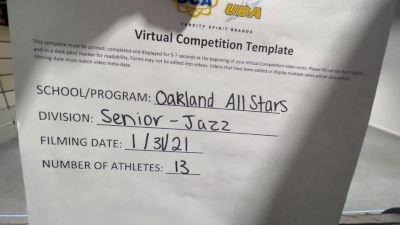 Oakland All Stars [Senior - Jazz] 2021 UDA Spirit of the Midwest Virtual Challenge