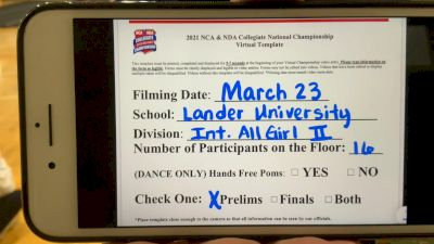 Lander University [Virtual Intermediate All-Girl Division II Prelims] 2021 NCA & NDA Collegiate Cheer & Dance Championship