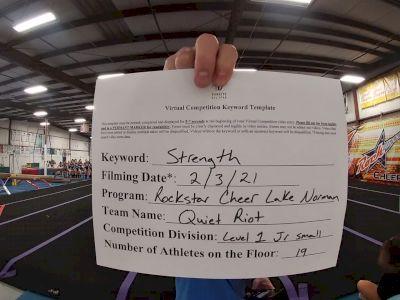 Rockstar Cheer Lake Norman - Quiet Riot [L1 Junior - Small] 2021 Varsity All Star Winter Virtual Competition Series: Event II