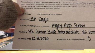 Higley [HS Group Stunt Intermediate - All Female] 2020 USA Arizona & Utah Virtual Regional