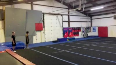 Our Level 6 Team, Code Blue, Working On Tumbling Skills For The Upcoming Season!