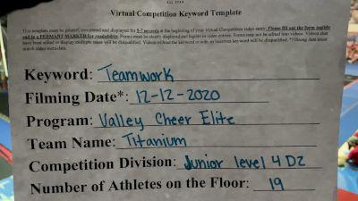 Valley Cheer Elite - Titanium [Level 4 L4 Junior - D2 - Small] Varsity All Star Virtual Competition Series: Event VII