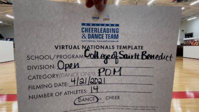 College of St Benedict [Virtual Open Pom Finals] 2021 UCA & UDA College Cheerleading & Dance Team National Championship