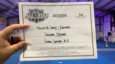 Twist & Shout - Edmond - Senior Desire [L4.2 Senior - Small] 2021 NCA All-Star Virtual National Championship