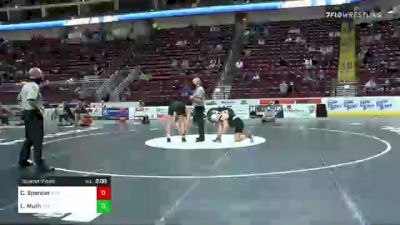 160 lbs Quarterfinal - Cole Spencer, Pine Richland vs Landon Muth, Bethlehem Catholic