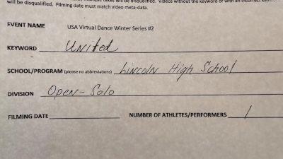 Lincoln High School [Open - Solo] 2021 USA Virtual Dance Winter Series #2
