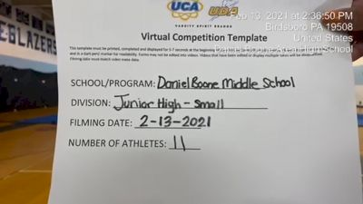Daniel Boone Middle School [Small JH] 2021 UCA February Virtual Challenge