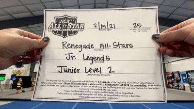 Renegade All Stars - Jr. Legendz [L2 Junior - D2 - Medium] 2021 NCA All-Star Virtual National Championship