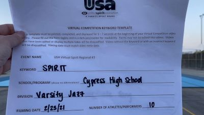 Cypress High School [Varsity - Jazz] 2021 USA Virtual Spirit Regional #3