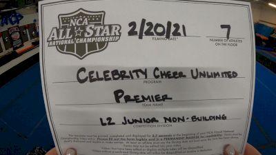 Celebrity Cheer Unlimited - Premier [L2 Junior - Non-Building] 2021 NCA All-Star Virtual National Championship