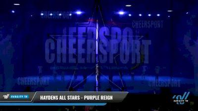 Haydens All Stars - Purple Reign [2021 L1 Junior - D2 - Small - B Day 2] 2021 CHEERSPORT National Cheerleading Championship
