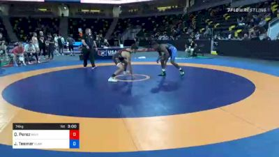 74 kg Quarterfinal - Quentin Perez, Navy-Marine Corps Mat Club vs Jacori Teemer, Sunkist Kids Wrestling Club