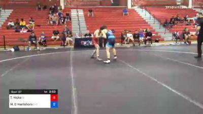 60 kg Consolation - Thomas Hicks, Tennessee vs Mason Carzino-Hartshorn, Community Youth Center - Concord Campus