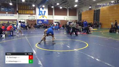 152 lbs Quarterfinal - Sonny Santiago, St John Bosco vs Caleb Uhlenhopp, Green Valley