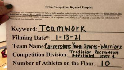 Cornerstone Christian School - Warriors [L1 Traditional Recreation - 10 & Younger (AFF)] 2021 Varsity Recreational Virtual Challenge II