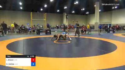 74 kg Quarterfinal - Isaiah Alford, Nebraska Wrestling Training Center vs Cade DeVos, Jackrabbit Wrestling Club
