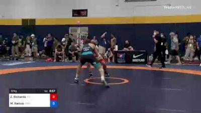 57 kg Quarterfinal - Zane Richards, Titan Mercury Wrestling Club (TMWC) vs Matthew Ramos, Gopher Wrestling Club - RTC