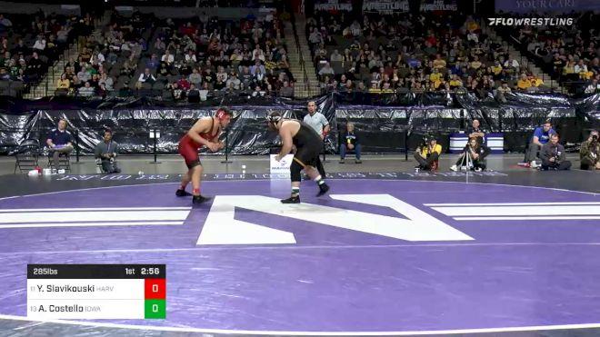 285 lbs Consolation - Yaraslau Slavikouski, Harvard vs Aaron Costello, Iowa
