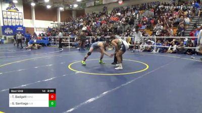 152 lbs Semifinal - Tyler Badgett, Rancho Bernardo vs Sonny Santiago, St John Bosco