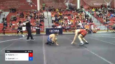 70 kg Prelims - Brayden Roberts, West Virginia Regional Training Center vs Denton Spencer, Cavalier Wrestling Club