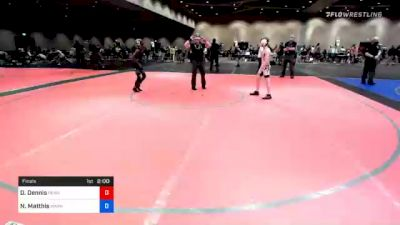 86 lbs Final - Daniel Dennis, Pennsylvania vs Nathan Matthis, Warhawks Wrestling