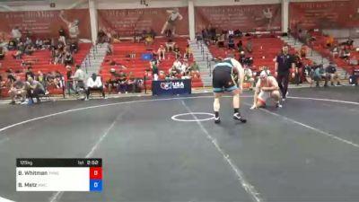 125 kg Prelims - Brandon Whitman, Tar Heel Wrestling Club vs Brandon Metz, Bison Wrestling Club