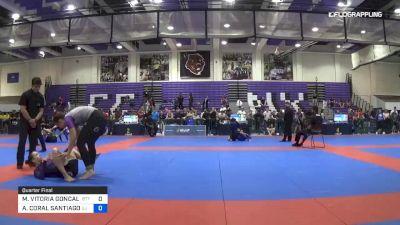 MARIA VITORIA GONCALVES vs ALANIS CORAL SANTIAGO 2019 Pan IBJJF Jiu-Jitsu No-Gi Championship