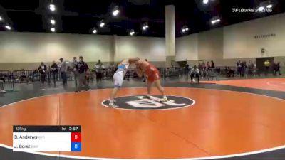 125 kg Consolation - Brian Andrews, Wyoming Wrestling Reg Training Ctr vs John Borst, Southeast Regional Training Center, Inc