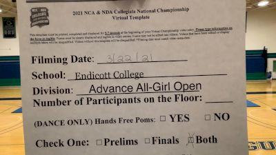 Endicott College [Virtual Advanced All-Girl Open Prelims] 2021 NCA & NDA Collegiate Cheer & Dance Championship