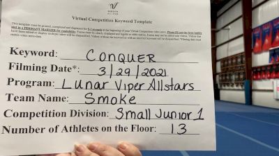 Lunar Viper Allstars - Smoke [L1 Junior - Small] 2021 Varsity All Star Winter Virtual Competition Series: Event V