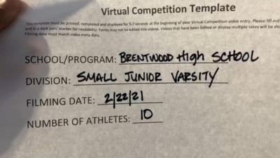 Brentwood High School [Small JV] 2021 UCA February Virtual Challenge