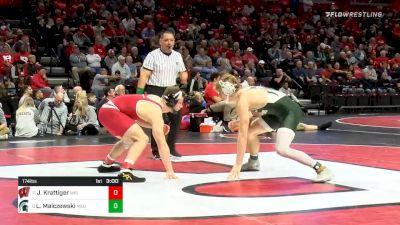 174 lbs Consolation - Jared Krattiger, Wisconsin vs Layne Malczewski, Michigan State