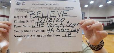 Jasper High School [Game Day Medium Varsity] 2020 NCA December Virtual Championship