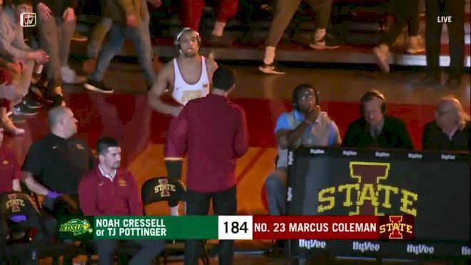 184 lbs: Marcus Coleman, Iowa State vs TJ Pottinger, NDSU