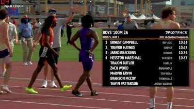 High School Boys' 100m 2A, Finals 1