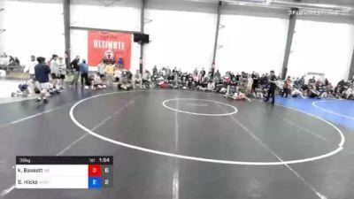 38 kg Quarterfinal - Keegan Bassett, M2 Magicians vs Slater Hicks, Wyoming Valley RTC Blue