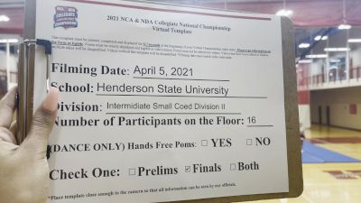 Henderson State University [Intermediate Small Coed Division II Virtual Finals] 2021 NCA & NDA Collegiate Cheer & Dance Championship
