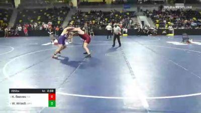 285 lbs Quarterfinal - Kaleb Reeves, Coe College vs Wyatt Wriedt, Loras College
