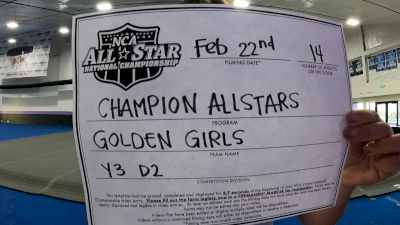 Champion All-Stars - Golden Girls [L3 Youth - D2 - Small] 2021 NCA All-Star Virtual National Championship