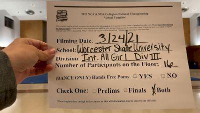 Worcester State University [Virtual Intermediate All-Girl Division III Prelims] 2021 NCA & NDA Collegiate Cheer & Dance Championship
