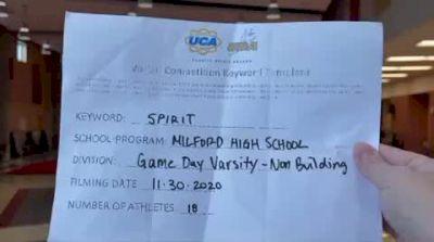 Milford High School [Game Day Varsity - Non-Building] 2020 UCA Miami Valley Virtual Regional