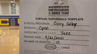 Curry College [Virtual Open Jazz Finals] 2021 UCA & UDA College Cheerleading & Dance Team National Championship