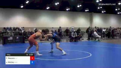 70 kg Quarterfinal - Fidel Mayora, Cliff Keen Wrestling Club vs Justin McCoy, Cavalier Wrestling Club