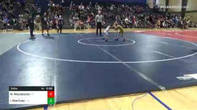 54 lbs Consolation - Maddox Macedonio, Rockmart Takedown Club vs Isaiah Martinez, Team Hammer House