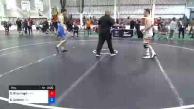 74 kg Prelims - Danny Braunagel, Illinois Regional Training Center/Illini WC vs Sammy Cokeley, Indiana RTC