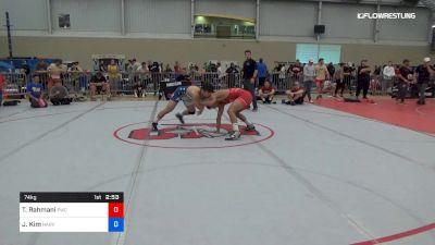 74 kg Consi Of 16 #1 - Taleb Rahmani, Pittsburgh Wrestling Club vs Joshua Kim, Harvard