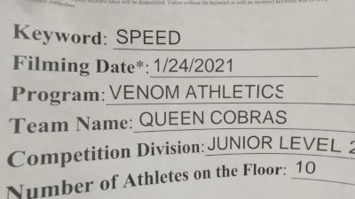 Venom Athletics - Queen Cobras [L2 Junior - D2 - Small - A] 2021 Varsity All Star Winter Virtual Competition Series: Event I